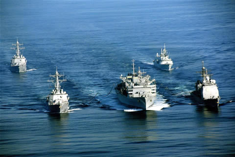 HMCS Calgary, top right, sails with ships from the USS Abraham Lincoln Carrier Strike Group.