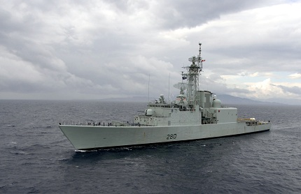 The Canadian destroyer HMCS IROQUOIS  sails the waters of the Aegean Sea off the coast of Greece.