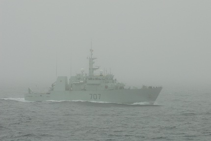 The HMCS Goose Bay steams north in Davis Strait along the east coast of Baffin Island during Operation Lancaster.