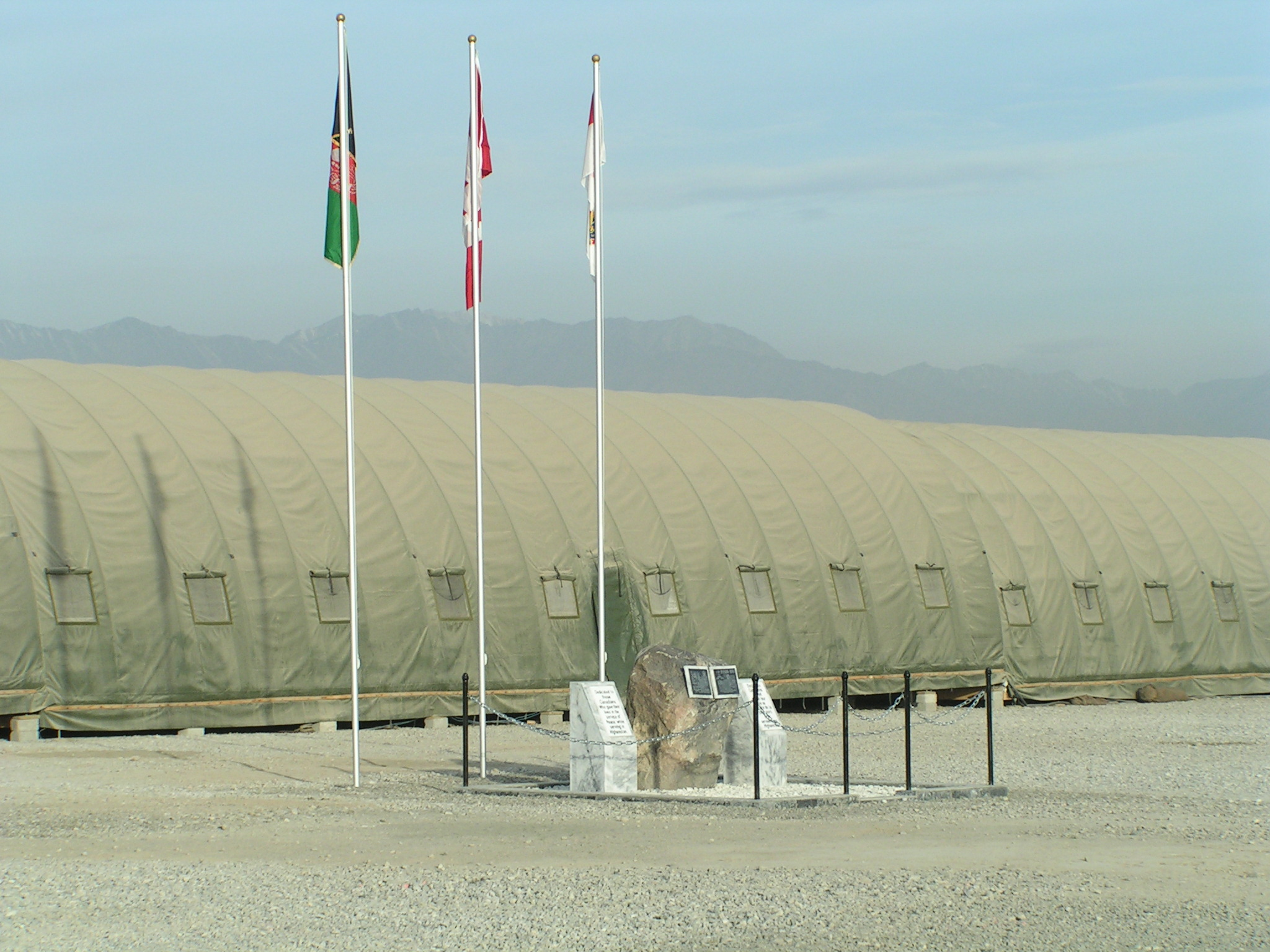The cenotaph erected honouring those Canadians lost on Afghani soil