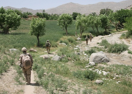 A section from A Company 1 PPCLI returns to FOB Martello while on a foot patrol.