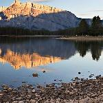 Two Jack Lake shore and Mt Rundle, early morning. Banff National Park.