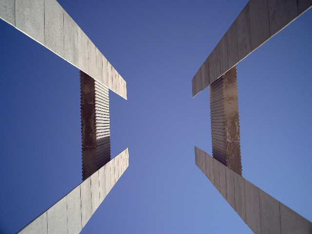 Looking at the towers at the International Peace Gardens from the ground up.