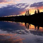 Sunset at Whitefish Lake, northw ter