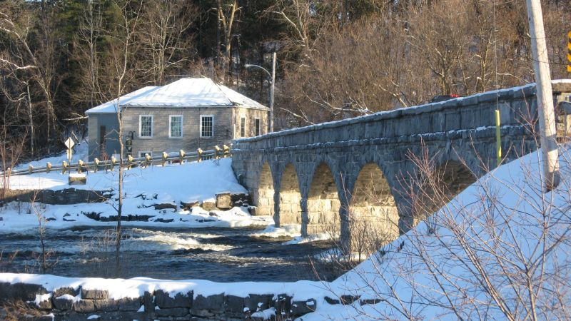 This stone bridge in Pakenham, Ontario, not far from Arnprior and Ottawa is the only five-span stone bridge in North America. Built in 1901, the largest stone is nine feet long and 2.5 ft square. Approach with caution, it's only one lane.