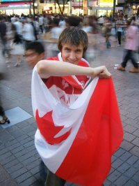 My friend Jeff in Japan on Canada Day. This picture was taken at the famous intersection in Shibuya.