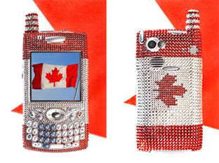 A one-of-a-kind Treo 650 smartphone bejeweled with over 2,000 Swarovski crystals was put up for auction last year..Proceeds from the auction benefitted the Canadian Autism Society.