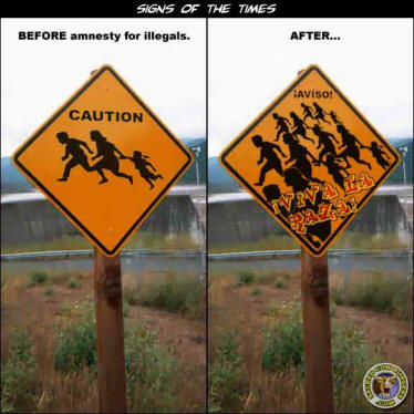 New raod signs along the Mexican border