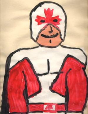 This was painted by my son who is 13.  He has Autism, and he doesn't draw the pictures, but with a little help he loves to paint them!