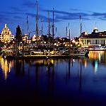Boats in inner harbour and parliament building lights