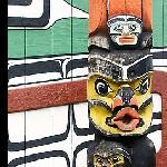 Totem pole and wall of Carving studio.